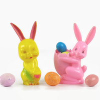 Vintage Rosbro Easter Bunny, Hard Plastic Candy Container, Easter Decoration