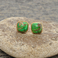 Copper Green Turquoise Micron Gold Plated Sterling Silver Stud Earring, Stud Jewelry, Cushion 9mm Earring - #1690