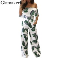 Glamaker Bohemian palm print ruffle jumpsuits&rompers Off shoulder plus size women jumpsuit Summer beach sexy jumpsuit overalls