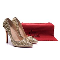 Christian Louboutin Gold Patent Leather Gold Nails High Heels 100mm
