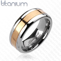 8mm Center Rose Gold IP Band Ring Solid Titanium Men's Ring Wedding band