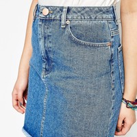 ASOS TALL Denim Skirt with Stepped Hem