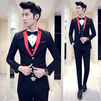 Red Black Tuxedo Wedding Suits For Men 2016 Lastest Prom Suit Costume Marriage Homme Contrast Collar Red White Black 3pcs