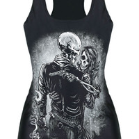 Black Skull Man and Lady Printed Tank Top