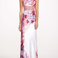 One Shoulder Charmeuse Flower Print Prom Dress - David's Bridal - mobile