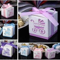 50pcs Laser Cut Carriage Gift Candy Boxes Wedding Favors and Gifts Baby Shower Party Decoration