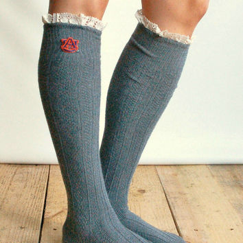 Lacey Fan AUBURN Boot Socks cable knit boot sock with lace and school logo - Collegiate boot socks (Item no.12-3)