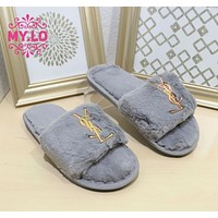 YSL New autumn and winter furry slippers female home bright diamond flat-bottom slippers slippers