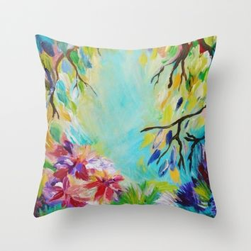 BLISS Decorative Floral Fine Art Throw Pillow Cover, 18 x 18 Toss Cushion Rainbow Colorful Home Decor