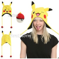 Licensed cool Pokemon GO Pikachu Beanie Hat Laplander Floppy Plush Ears Pokeball Pom Tassles