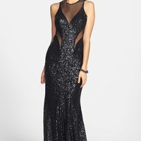 Women's Faviana Illusion Cutout Sequin Mermaid Gown,