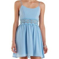 Periwinkle Lace-Waist Skater Dress by Charlotte Russe