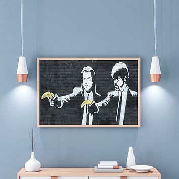 Banksy Street Graffiti Poster and Prints Painting Pulp Fiction Canvas Painting Wall Pictures for Home Living Room Decoration|Painting & Calligraphy