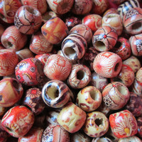 10PCS Beautiful pattern mix mini wood Dreadlock beads wooden dread Making Jewelry Accessories 5mm hole