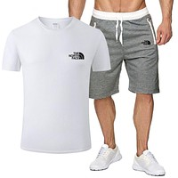 The North Face Tide brand cotton men's and women's sports wild two-piece White