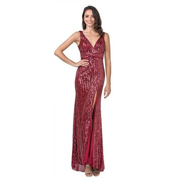 Cut-Out Back Long Prom Dress with Slit Burgundy