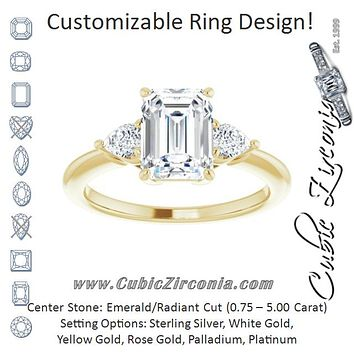 Cubic Zirconia Engagement Ring- The Zhata (Customizable 3-stone Radiant Style with Pear Accents)