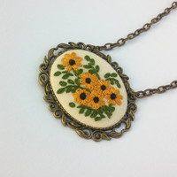 Sunflower Necklace, Yellow Flower Necklace, Boho Chic Necklace, Fabric Jewelry