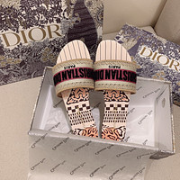 Dior spring summer holiday series embroidered slippers