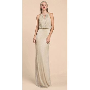 Andrea & Leo A0500 Grecian Metallic Champagne Sheath Dress Long