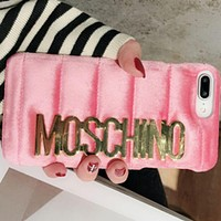 Moschino iPhone 7  8 iPhone 7 8 plus - Trending Cute Metal Logo Phone Case For iphone 6 6plus  iphone X(4-Color) Pink