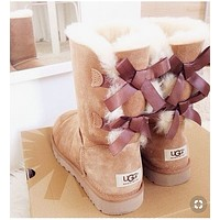 """UGG"" Winter Popular Women Warm Two Bowknot Snow Boots Shoes Brown I/A"