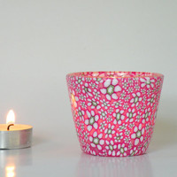 Candle Holder with Pink Petite Flowers, spring colors