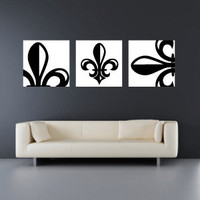 Set of 3 10x10 Fleur de Lis Canvas Wraps - Home Decor - Wall Art