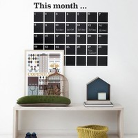 DIY Monthly chalkboard calendar Vinyl Wall Decal Removable Planner wallpaper vinyl Wall Stickers 90*105CM Home Decoration