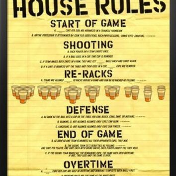 Professionally Framed Beer Pong House Rules Art Poster Print - 24x36 with Solid Black Wood Frame