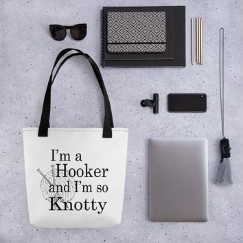 Happy knitter's tote bag