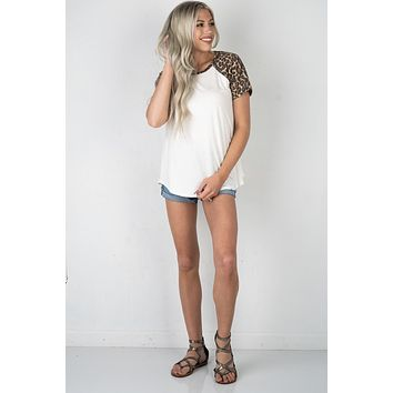 Off White Top with Leopard Print Sleeves (S-3XL)