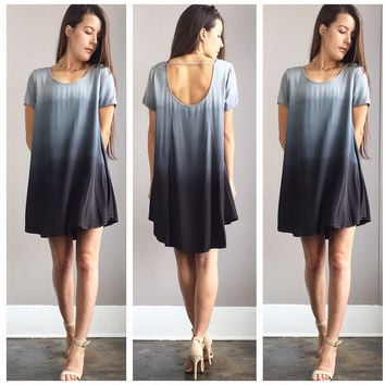 A Blue Stone Ombre Flowy Sleeved Dress