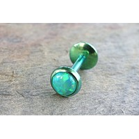 Green Fire Opal 16 Gauge Cartilage Earring Tragus Monroe Helix Piercing