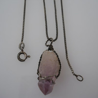Sterling Silver 925 Box Chain Necklace Amethyst Wire Wrap Pendant 24 in 1.2mm Italy 925