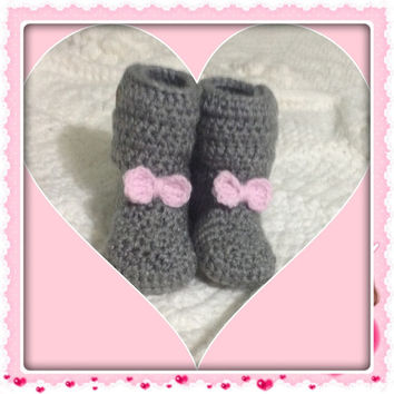 Bow Tie Baby Booties Infant Shoes (shown in Grey with a Light Pink Bowties) button closure MORE COLORS