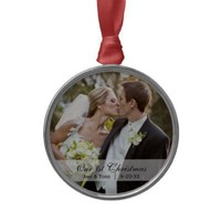 Wedding     First Christmas Photo Ornament from Zazzle.com