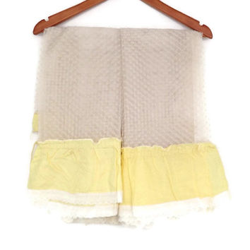 Vintage Kitchen Curtains, Dacron and Cotton, Sheer Dotted with Yellow Cotton Ruffle, 3 Pair, Yellow and White, Cottage Chic Home Decor