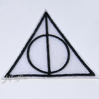 Harry Potter Deathly Hallows Symbol Iron On Embroidery Patch MTCoffinz