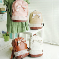 Pu Leather Floral Bow Lace Backpack