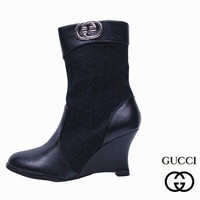 GUCCI Fashion Pointed Toe Leather High Heels Short Boots Shoes