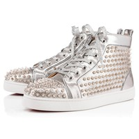 Cl Christian Louboutin Louis Spikes Men's Flat Silver/silver Leather 18s Shoes 1180210sv71 - Best Online Sale