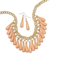 Gold Tone Peach Bead Drop Fashion Necklace and Earring Set