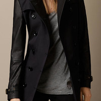 Leather Sleeve Stud Detail Trench Coat
