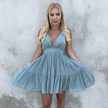 Kiss The Day Halter Summer Dress in Seafoam