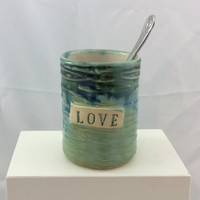 Valentines cup, pottery mug, personalized gift, Toothbrush holder, pencil holder, handmade.