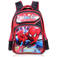 School Backpack, Jakpopin Spiderman Cartoon Bag Students Casual Style Canvas Backpacks Classical Book Bags Outdoor Sports Daypack Disney Rucksack Knapsack for Boys Girls Kids Children, Cool Red