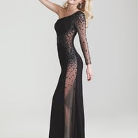 Black Jersey Sheer Beaded One Sleeve Prom Dress - Unique Vintage - Prom dresses, retro dresses, retro swimsuits.