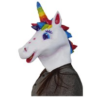 Novelty Halloween Costume Party Latex Unicorn Pony Mask