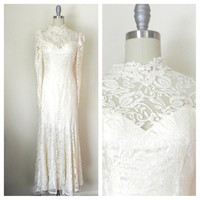 Vintage 1970s Victorian Inspired Lace Gown Size: Small